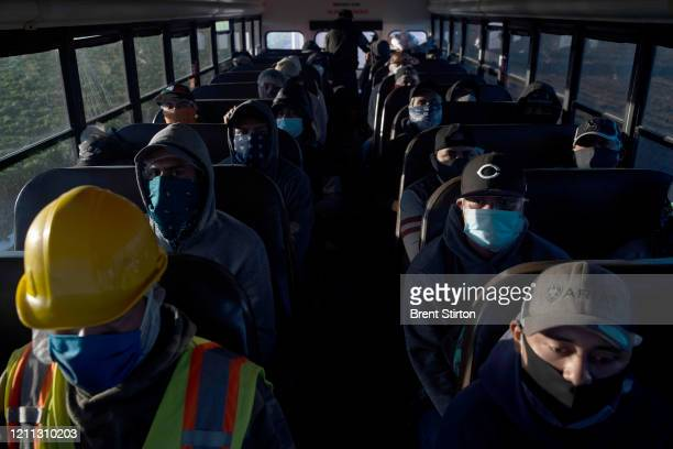 Farm laborers from Fresh Harvest arrive for their shift on April 28 2020 in Greenfield California The industry has looked at placing fewer laborers...