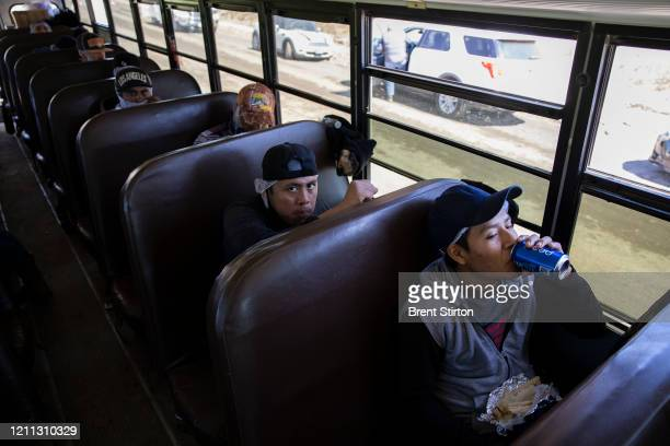 Farm laborers from Fresh Harvest eat their lunch on their bus to avoid the sun on April 27 2020 in Greenfield California Fresh Harvest is the one of...