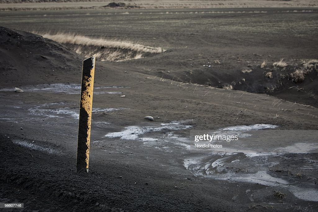 Farm land is covered by a thick layer of ash from the Eyjafjallajokull, on April 21, 2010 in Skogar, Iceland. The ash is killing the pasture and polluting water supplies which is poisoning animals and is causing farmers severe financial difficulties.