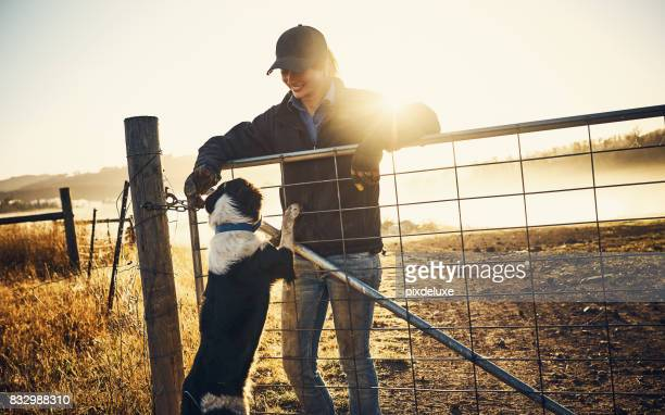 Farm life wouldn't be the same without her dog