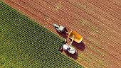 Farm machines harvesting corn for feed or ethanol