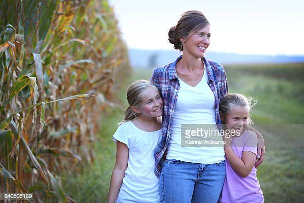Farm mom with her daughters