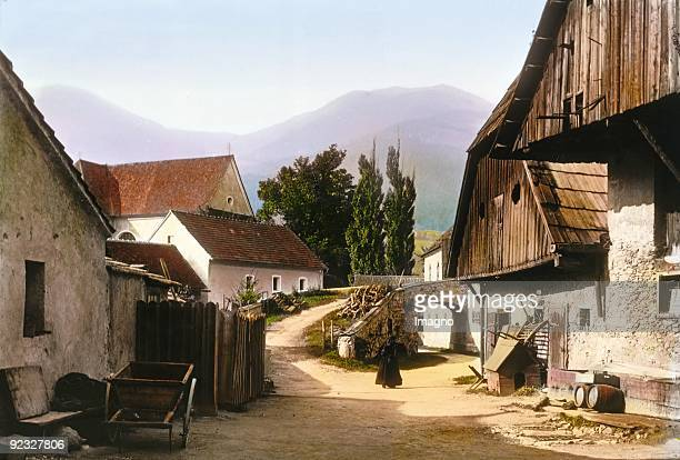 Farm near Mautern Liesingtal Styria Handcolored lantern slide Around 1910