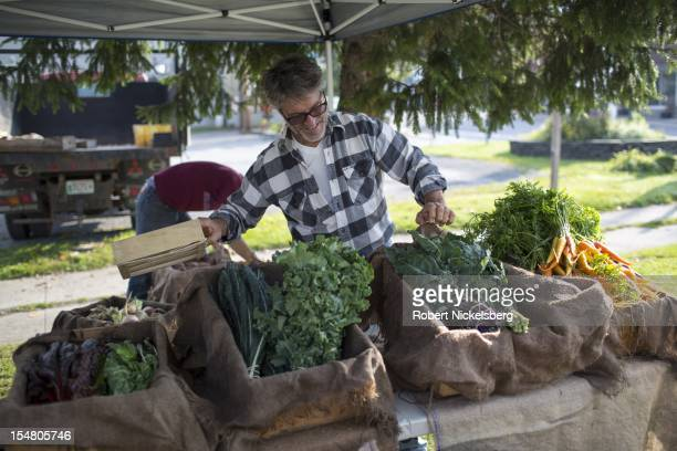 Farm owner Dominic Palumbo 56 years arranges his organically grown vegetables October 6 2012 at the weekly farmers' market in Millerton New York...