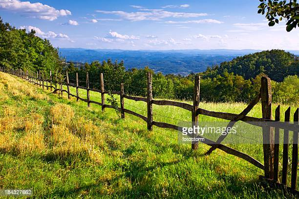 Farm pasture surrounded by a wooden fence