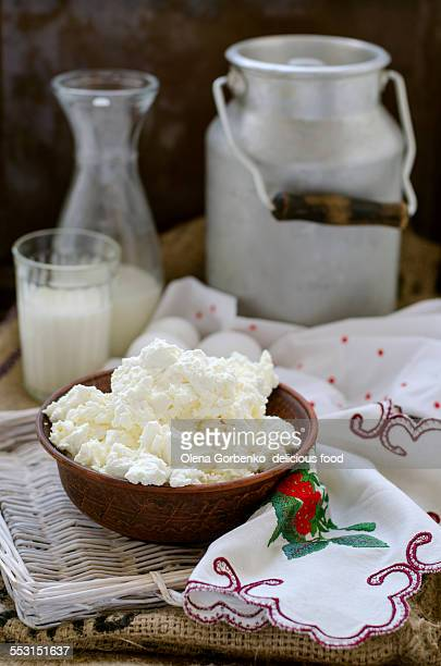 Farm products: cottage cheese, milk and eggs
