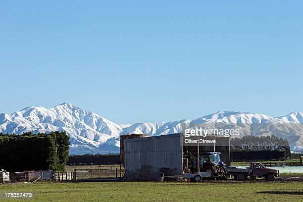 Farm sheds and Southern Alps