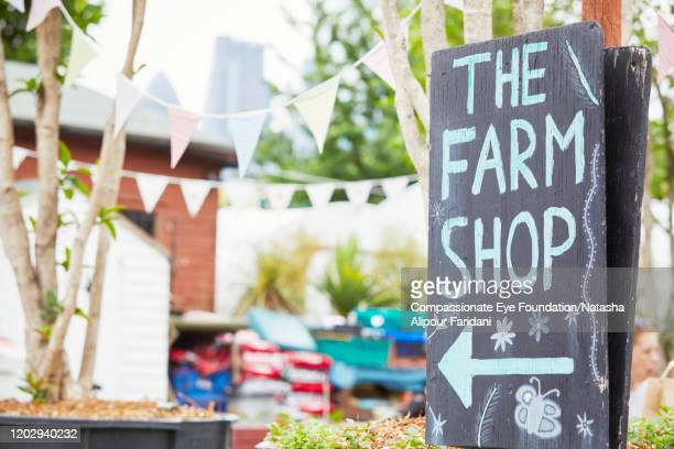 farm shop sign - compassionate eye foundation stock pictures, royalty-free photos & images