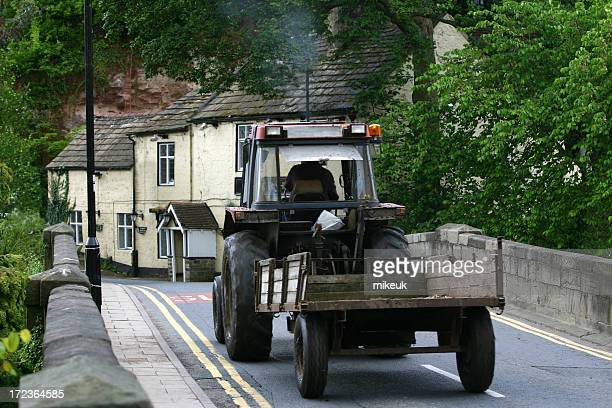 farm tractor in English village