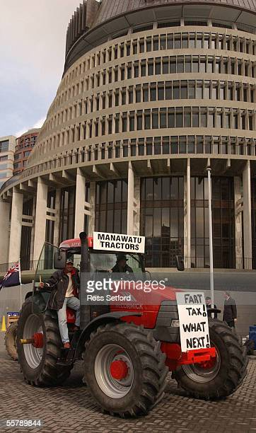 Farm tractors on the forecourt of Parliament Thursday as farmers protest against the fart tax which will be levied as part of the Kyoto agreement