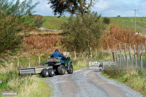 Farm worker on a quad bike with his sheepdog