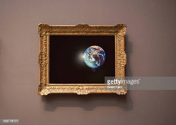 farmed photograph of earth seen from space. - museum stock pictures, royalty-free photos & images