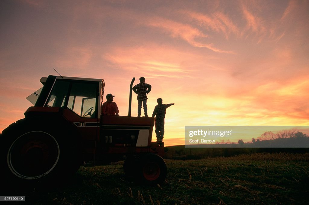 Farmer and his sons watching the sunset : Stock-Foto