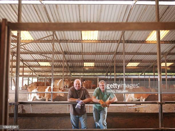 farmer and son in milking parlor - mann beim melken stock-fotos und bilder