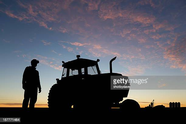 farmer at dawn - land vehicle stock pictures, royalty-free photos & images