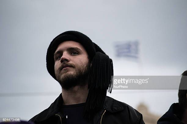 A farmer at Syntagma Square during a protest against pension reform Greek farmers from across the country traveled to Athens on Friday February 12 in...