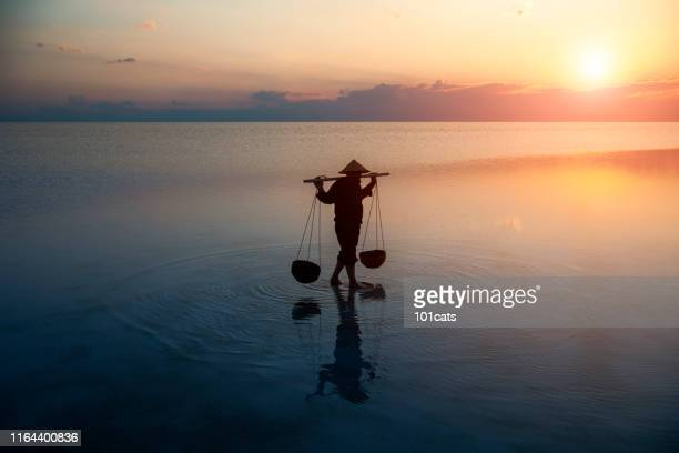 farmer carrying baskets on the water. - tradition stock pictures, royalty-free photos & images
