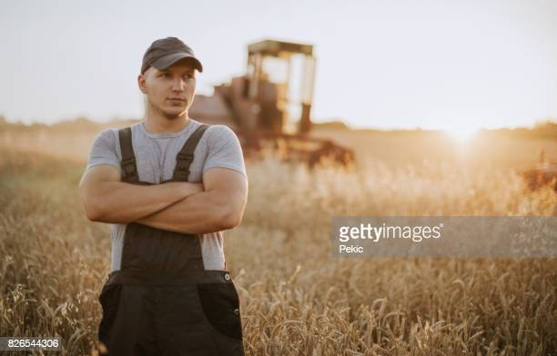Farmer controlled harvest in his field