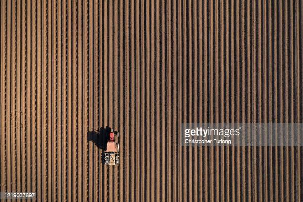 Farmer dam ridges a potato field on his farm on April 15, 2020 in Newport, Shropshire. Agricultural operations in the UK have been able to continue...