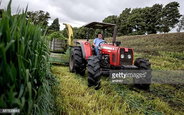 Farmer driving einem Traktor auf der farm