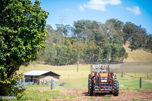 Farmer driving his combine harvester