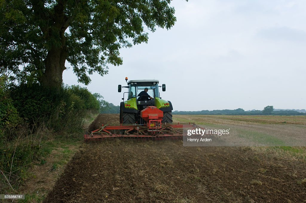 Farmer driving tractor and planting seed corn in field : Stock Photo