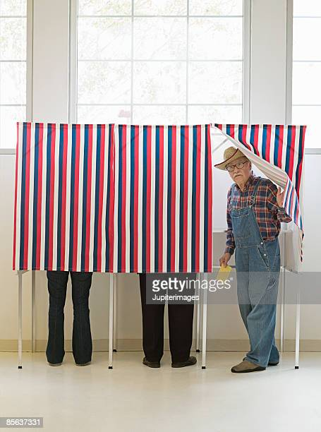 Farmer emerging from voting booth