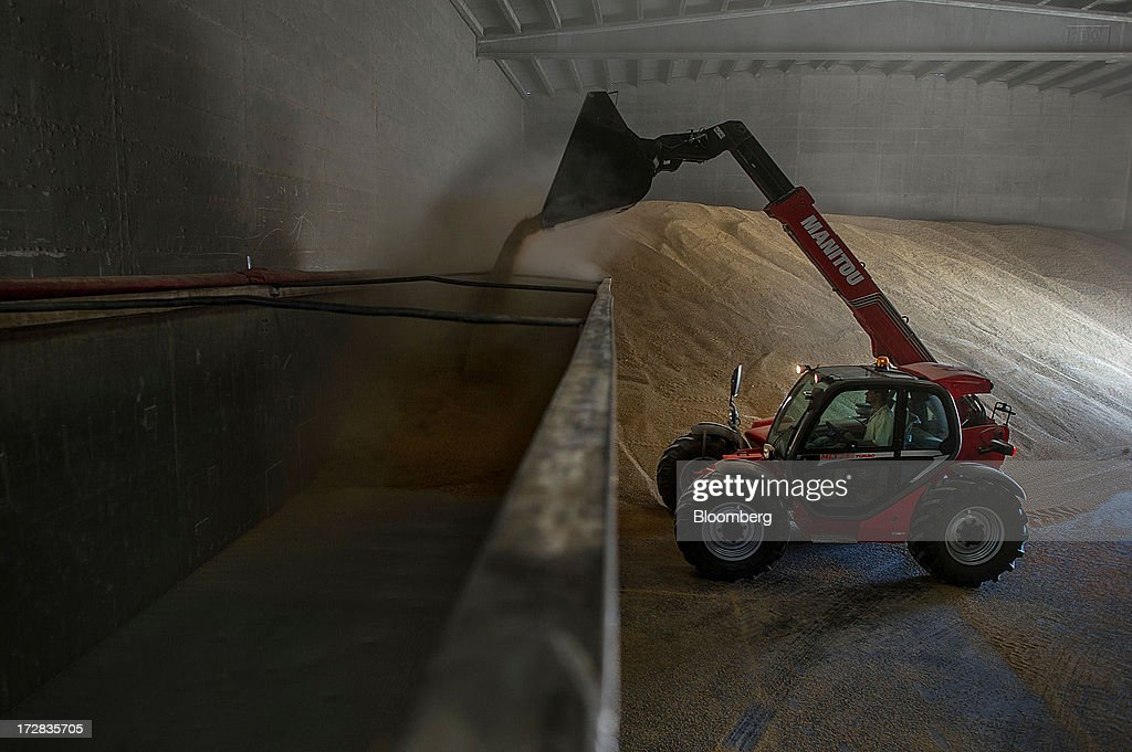 A farmer fills a wagon with barley grain using a Manitou Miniscopic front-loader in a warehouse in Cervera, Spain, on Thursday, July 4, 2013. Spain consumes about 28 million to 30 million tons of grain a year, of which two-thirds is produced domestically, according to young farmers organization Asaja. Photographer: David Ramos/Bloomberg via Getty Images