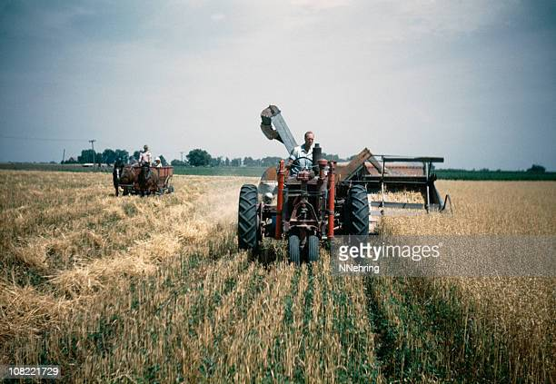 agricultor colheita de aveia no campo 1948, retro - iowa imagens e fotografias de stock