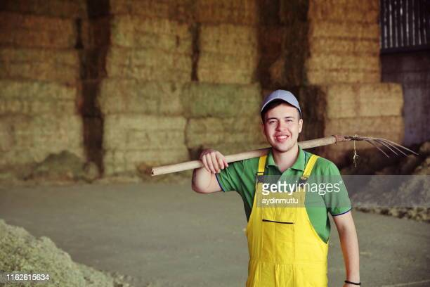 forchetta per forchetta per l'agricoltore - allevamento foto e immagini stock