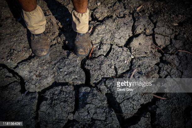 Farmer Johnnie McKeown stands in the dried-up bed of the Namoi River located on the outskirts of his drought-affected property, near the...
