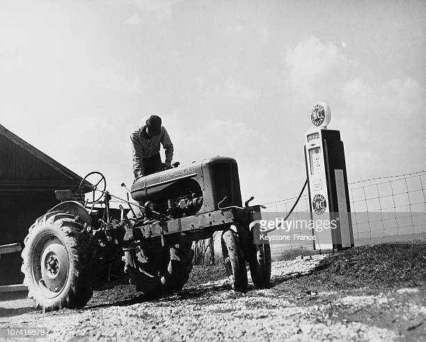 Farmer On His Tractor At Gettysburg In Pennsylvania