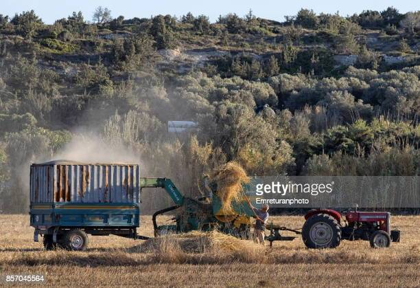 a farmer operating his haymaker in the field. - emreturanphoto stock pictures, royalty-free photos & images