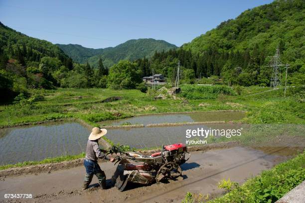 farmer - satoyama scenery stock pictures, royalty-free photos & images