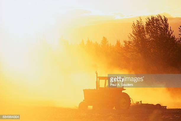 Farmer Plowing Field on Bodenburg Butte