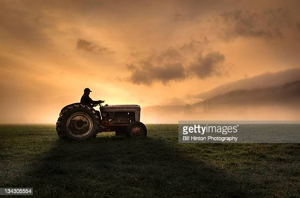 farmer riding tractor - tractor stock pictures, royalty-free photos & images
