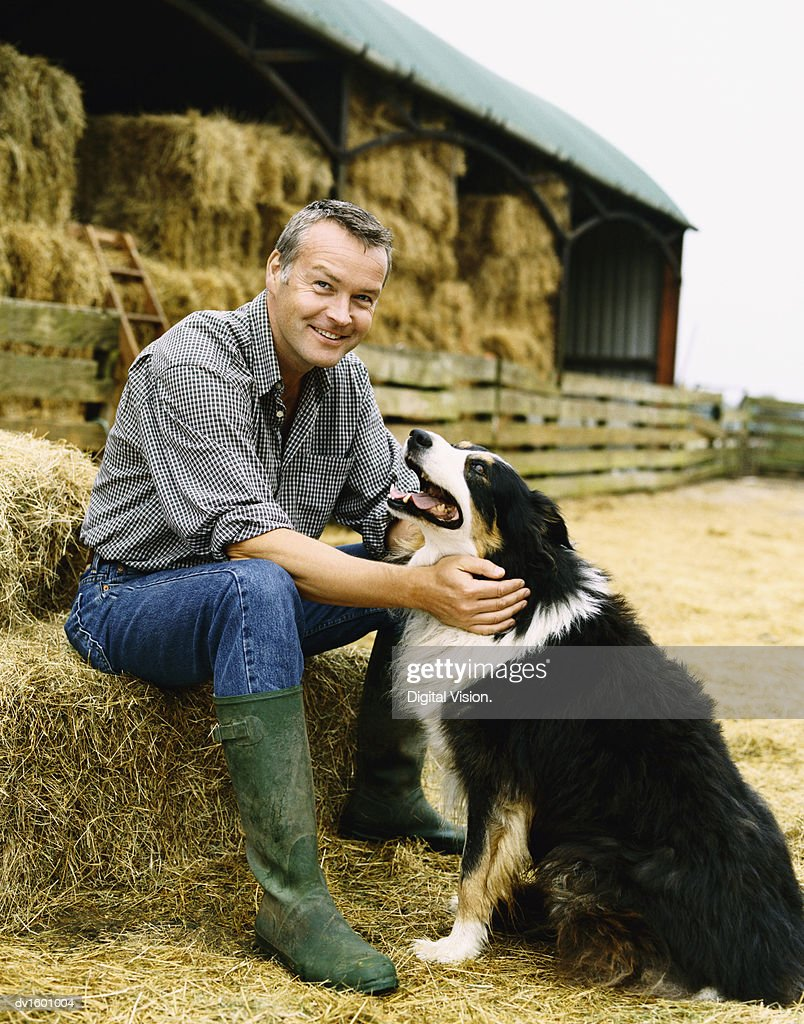 Farmer Sitting on a Bay of Hale on a Farm With His Pet Dog : Stock Photo