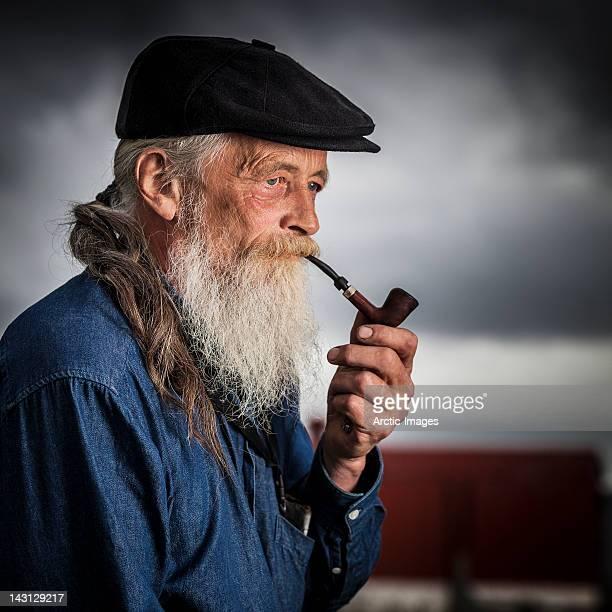 Farmer smoking a pipe