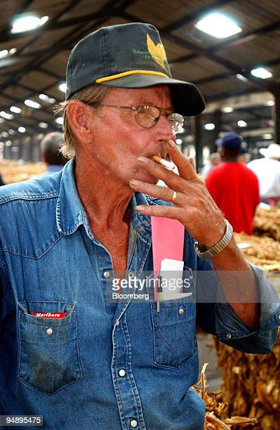 Farmer Stacy Creech watches as buyers auctioneers and warehousemen walk along rows of tobacco bales August 11 2004 in Wilson North Carolina