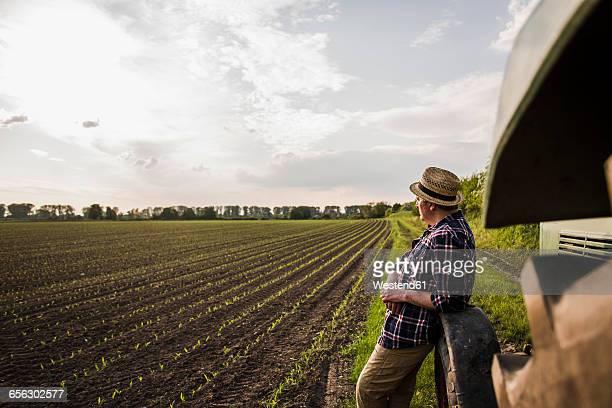 Farmer standing at a field