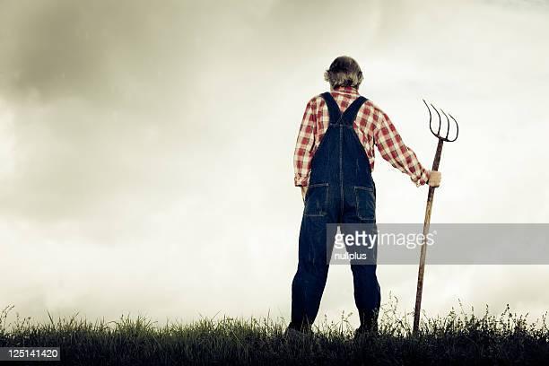 Agriculteur debout au sommet d'une colline