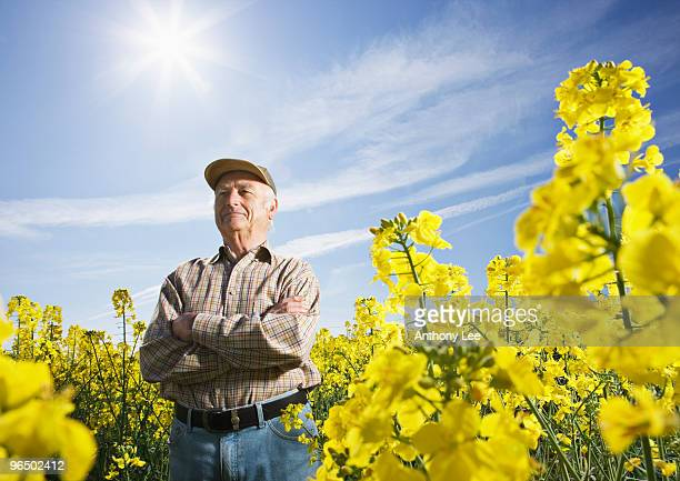 Farmer standing in field of flowers