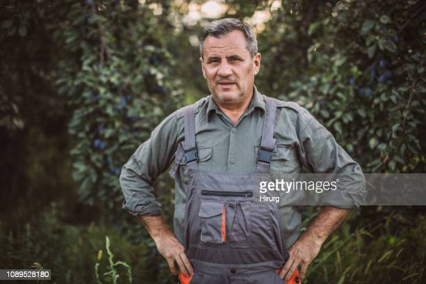 farmer standing in the orchard - serbia stock pictures, royalty-free photos & images