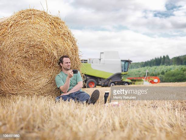 Farmer taking a break during harvesting