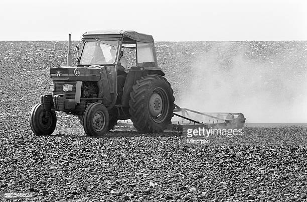 Farmer Tony Mence with the dried up problems he faces on his land at Pershore during the summer heatwave and drought of 1976 20th August 1976