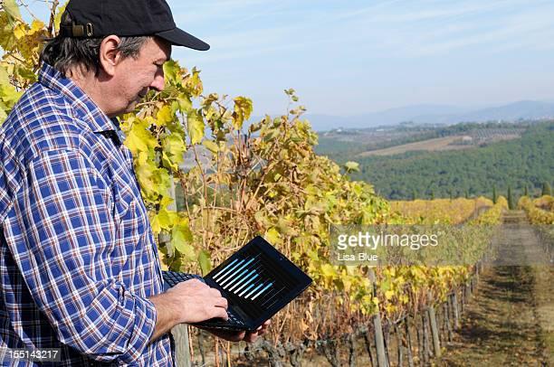 Farmer con PC en el Viñedo