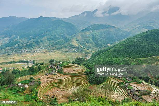 farmer village and rice terraces field in sa pa - sa pa stock photos and pictures