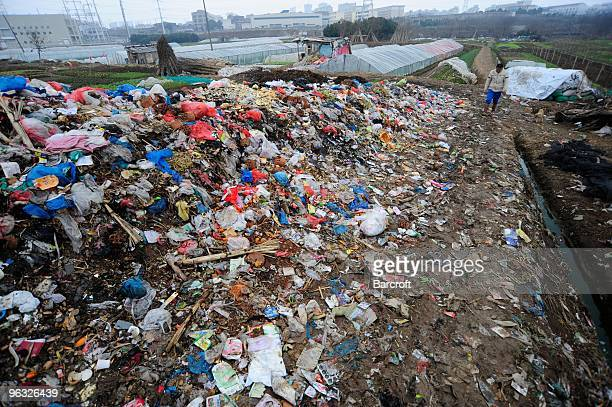 A farmer walks by a heap of rubbish on February 1 2010 in Shilidian village in Hefei in central China's Anhui province Chinese government officials...