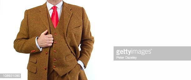 farmer wearing weed suit with copy space - tweed stock pictures, royalty-free photos & images