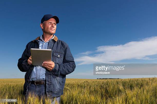 Farmer, Wheatfield and Tablet PC
